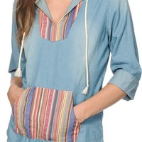 Empyre Lucia Multi Stripe & Denim Hooded Shirt