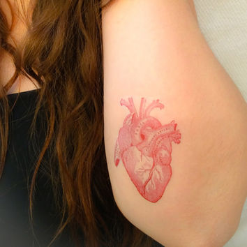2 Anatomical Heart Temporary Tattoos- SmashTat
