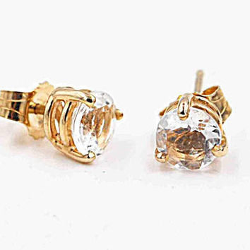 Vintage 14K Yellow Gold and CZ Earrings, Cubic Zirconia, Stud Earrings, Post Style, 5mm, 1.1 Grams, Classic, Unisex, Sparkly! #c297