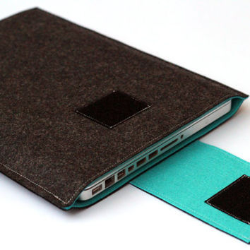 "13"" inch Apple Macbook Pro laptop Sleeve Case Cover - Dark Gray & Turquoise - Weird.Old.Snail"