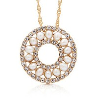 Gold-Tone Faux Pearl Medallion Fashion Pendant Necklace #n906
