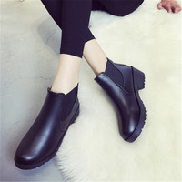 Ankle Boots For Women Free Shipping Chunky Heel Women Chelsea Boots Leather Pumps Botte Femme Fashion Botin Negro Mujer Tacon
