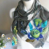 Olive Green Scarf, Oversized Handmade Scarf, Dark Green Gray Scarf, Triangle Shawl, Dark Green Shimmer Scarf, Patchwork Scarf, Green Roses