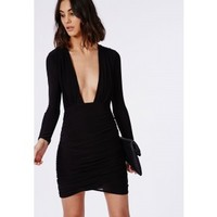Missguided - Slinky Long Sleeve Midi Dress Black