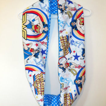 Wonder Woman Infinity Scarf - DC Comics - Soft White Cotton with Turquoise Polka Dots - Woman Teen or Pre-teen or Girl