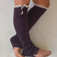Leg warmers- purple slouchy open button down lace leg warmers knit lace leg warmers boot socks christmas gifts