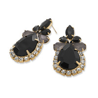 Ornate Black Acrylic and Crystal Fashion Earrings