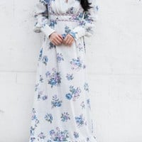 1970s Blue Floral Long Sleeve Maxi Dress - S/M