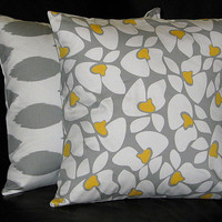 """Pillows Grey, White Designer Fabric Throw Pillows IKAT set of Two 16 inch Pillow Covers 16"""" Accent Pillows Gray & Yellow"""