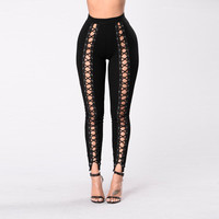 Black Hollow Out Leggings Women 2017 Spring Summer Full Length Pencil Punk Rock Pants Sexy Fitness Lace Up Bodycon Legging