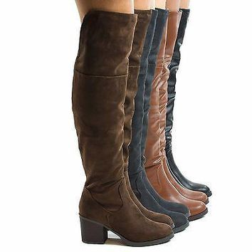 Victoria01 Brown By Bamboo, Thigh High Faux Wooden High Heel Riding Boots