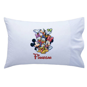 Personalized Mickey Mouse and friends pillowcase