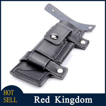 New Straight Leather Belt Sheath For 7 Inches Fixed Knife W/Pouch Knives Sheaths Professional Gift Pocket Tool Outdoor