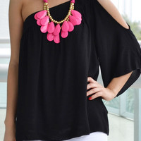 Daphne One Shoulder Black Top