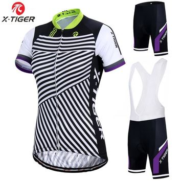 X-Tiger Pro Women Cycling Set Bike Shirt 100% Polyester Bicycle Clothes Summer UV Cycling Clothing Quick-Dry Cycling Jersey Set