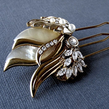 Vintage Jewelry Wedding Hair Comb Pearl Rhinestone Jeweled Bridal Hairpiece Gold Ivory Bride Faux Mother Of Pearl Headpiece