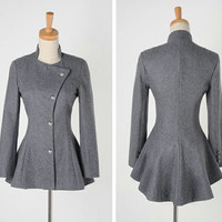Wholesale Sweet Round Collar Dovetail Dark Gray Slimming Long Sleeves Coat For Women (DEEP GRAY,ONE SIZE), Jackets & Coats - Rosewholesale.com