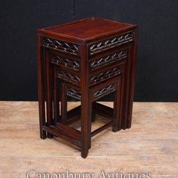 Canonbury - Chinese Hard Wood Nest of Tables Carved Side Table