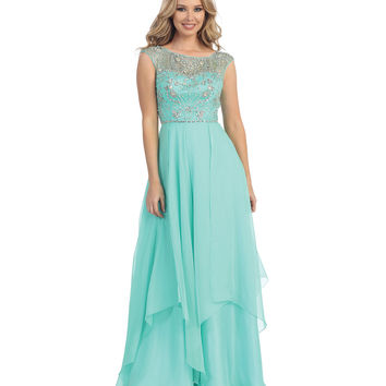 Mint Sheer Beaded Empire Waist Chiffon Gown 2015 Prom Dresses