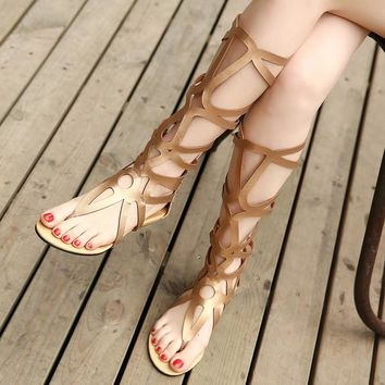 Cut Out Tall Gladiator Sandals