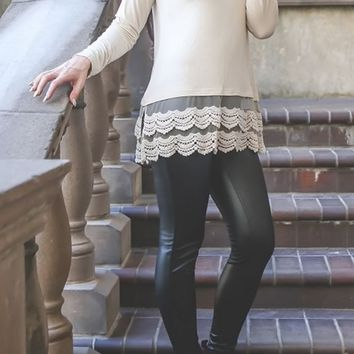 Cream Long Sleeve Lace Top Extender
