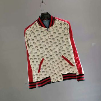 Gucci 2018 early Autumn when new Gucci full-mother spell high-end windbreaker jacket letter pattern Arm strap Stitching 002