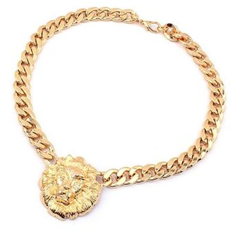 Gold Flat Chain Lion Head Pendant Choker Necklace