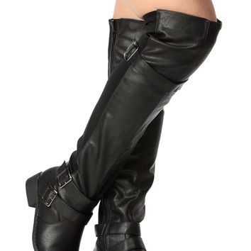 Black Faux Leather Triple Strapped Over the Knee Biker Boots