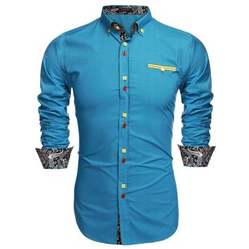 COOFANDY Men's Leisure Button Down Slim Fit Casual Long-Sleeve Shirt