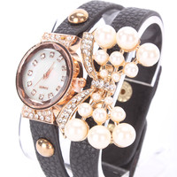 Black Faux Leather High Polish Metal Faux Pearl Bow Pendant Watch Bracelet