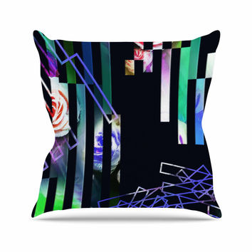 "Dawid Roc ""Geometric Stripes Abstract"" Green Stripes Throw Pillow"