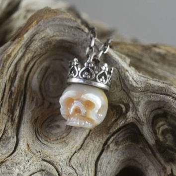 READY TO SHIP - Hand Carved Cream Pearl Skull Wearing Sterling Silver Crown Necklace - Christmas Gift - Christmas Jewelry - Unique Gift
