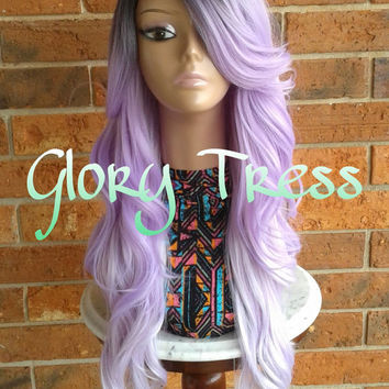 READY To SHIP // Long Curly/Wavy Lace Front Wig, Ombre Lavender Mermaid Wig, Dark Rooted Bombshell Wig //GRACIOUS (Free Shipping)