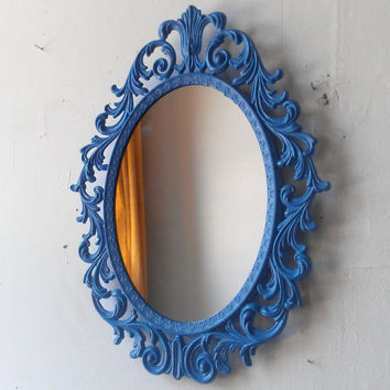 Fairy Princess Wall Mirror - 13 by 10 in Periwinkle Blue Vintage Frame