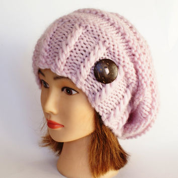 Irish powder pink slouch hat women beanies hat Slouchy Beanie chunky hat Knitted accessory with button handmade christmas gift teenager
