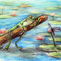"""Frog art print, dragonfly nursery, funny, wildlife, water lilies, Large size, """"Are You Sleeping Little Frog?"""" by Laurie Shanholtzer"""