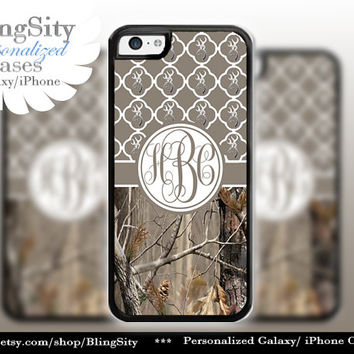 Monogram Iphone 5C case Browning iPhone 5s iPhone 4 case Ipod 4 5 Touch case Real Tree Camo Brown Quatrefoil Personalized Country Girl