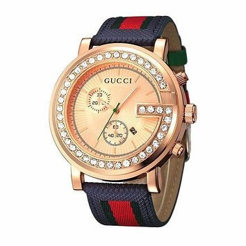 GUCCI men and women trendy casual watches watch F Blue wristwatch + rose gold case + rose gold dial