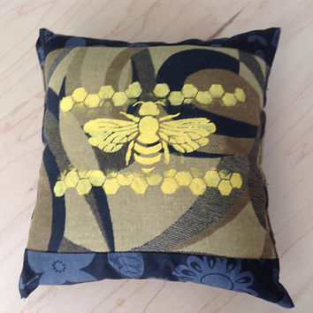 Yellow Bee Screenprint  on Brown and Black Mini Decorative Chair Sofa Pillow Gift for Gardener