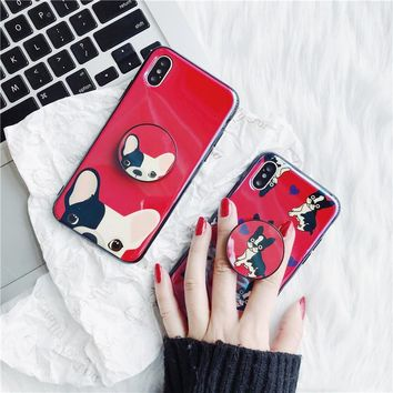 Cute Puppy Bulldog Case for iPhone X 7 7 Plus 6 6 s 6 Plus 6 S plus 8 8 Plus Expansion Holder Soft Design Cover Stand
