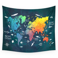 Society6 Ocean World Map Color Wall Tapestry