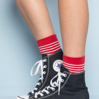 Red and White Stripe Socks - Socks - Accessories