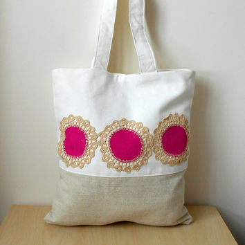 Linen tote bag, beige white tote bag, tote bag with pink, crochet lace bag
