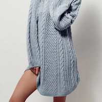 Long Sleeve Turtleneck Chunky Cable Knit Sweater