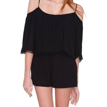 Madrid Off-Shoulder Romper - Black