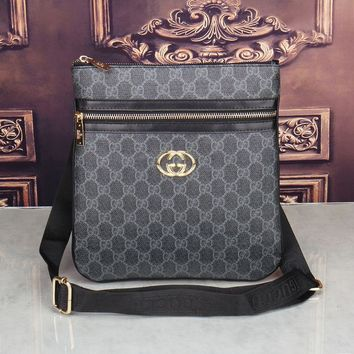 Gucci Shoulder Bag Men And Women Zipper Monogram Print Bag Black
