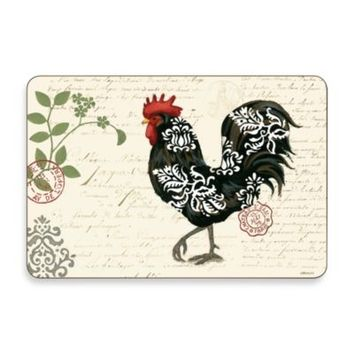 Jason Damask Roosters Multi-View Hardboard Cork-Backed Placemats (Set of 4)