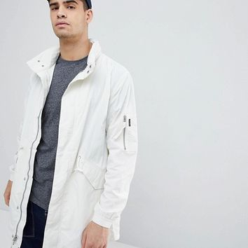 Penfield Pancho Long Nylon Concealed Hood Parka Jacket in White at asos.com