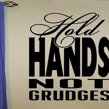 vinyl wall decal quote Hold hands not by WallDecalsAndQuotes