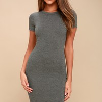 Like Minded Charcoal Grey Bodycon Midi Dress